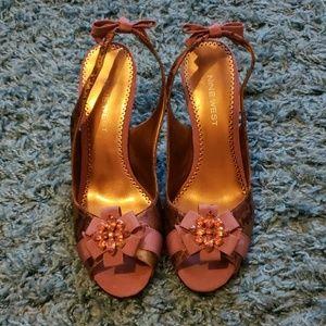 Nine West Purple Wedge Dressy Heels with Brooch